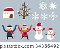 冬天材料兒童雪人 34386492