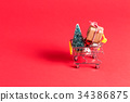 Holiday shopping theme with shopping cart 34386875