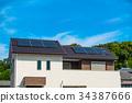 eco-house, photovoltaic, solar power 34387666