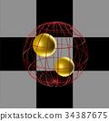 球體在框架中 34387675