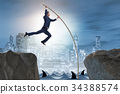 Businessman in pole vaulting concept 34388574