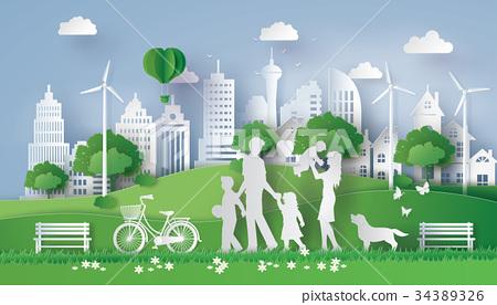 paper cut of eco 34389326