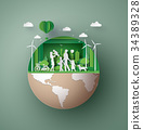paper art concept of eco friendly , save the earth 34389328