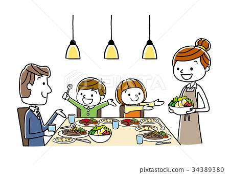 Family: Meal, Dinner, Dinner 34389380