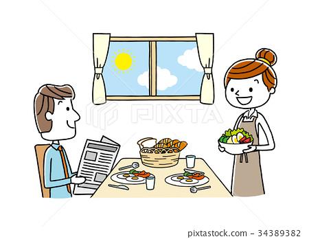 부부 : 식사, 식탁, 아침 식사 34389382
