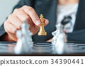 Close up shot hand of business woman holding gold 34390441
