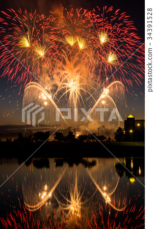 Independence Day Fireworks Reflected in Water 34391528