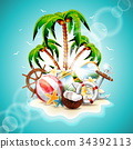Vector illustration on a summer holiday theme 34392113