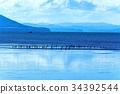 サロマ湖&アオサギ 34392544