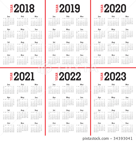 Year 2018 2019 2020 2021 2022 2023 Calendar Vector Stock Illustration 34393041 Pixta
