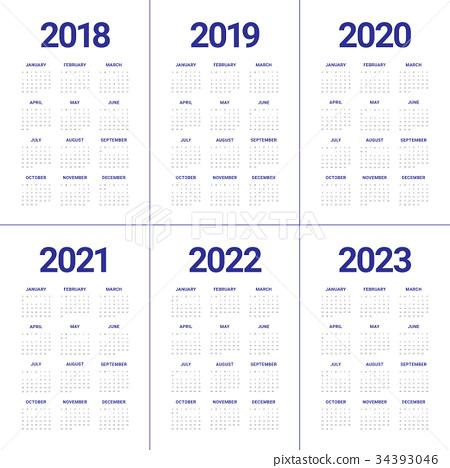 Year 2018 2019 2020 2021 2022 2023 calendar vector - Stock