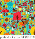 Fall Seasonal Seamless Pattern 34393819