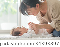 아기를 달래는 엄마 미소 34393897