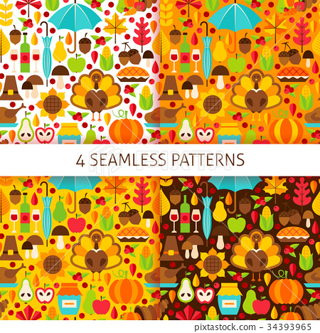 Thanksgiving Day Seamless Patterns 34393965