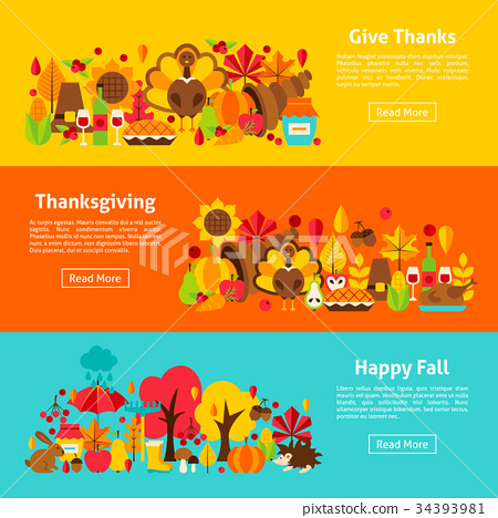 Thanksgiving Web Horizontal Banners 34393981