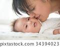 แม่จูบแก้มของทารก 34394023