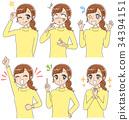 女孩動畫片樣式例證(設置)做了各種各樣的表示的婦女 34394151