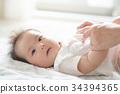 一个婴儿的手和一个快速的母亲 34394365