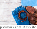 Man's clothes lifestyle shoes flat lay 34395365