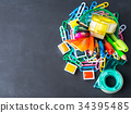 Colorful stationery back to school concept on dark 34395485