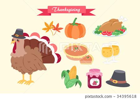 cute cartoon thanksgiving 34395618