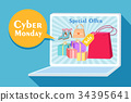 cartoon cyber monday 34395641