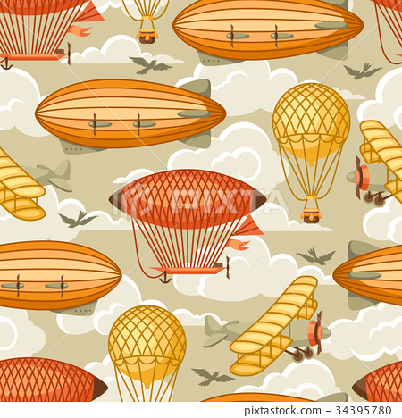 Seamless pattern with retro air transport. Vintage 34395780