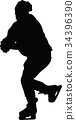 ice skate silhouette 34396390