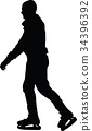 ice skate silhouette 34396392