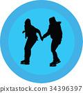 ice skate silhouette 34396397