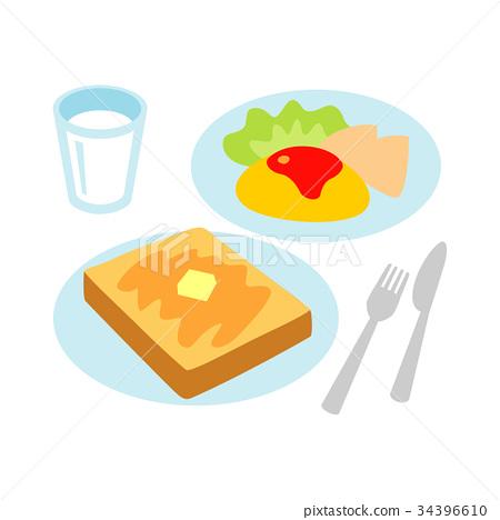 Toast omelet milk 34396610