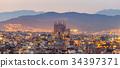 barcelona city and sagrada familia at dusk ,Spain 34397371