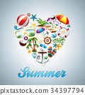 Vector Love Heart Summer Holiday design set 34397794