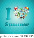 Vector Love Heart Summer Holiday design set 34397795