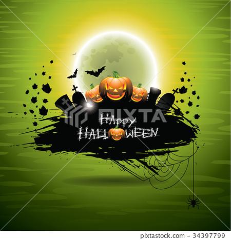 Vector illustration on a Halloween theme 34397799