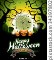 Vector illustration on a Happy Halloween theme 34397802