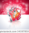 Vector Valentines Day illustration with 3d Love 34397850