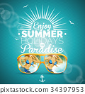 Vector Summer illustration with sexy girl 34397953