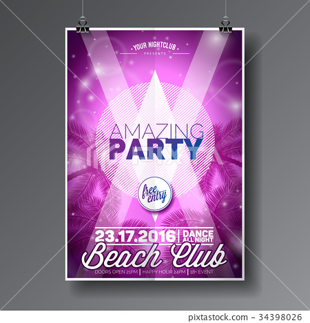 Vector Summer Beach Party Flyer Design 34398026