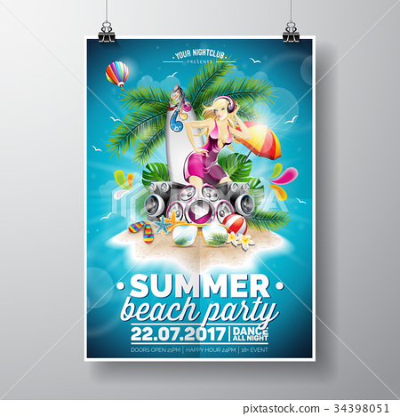 Vector Summer Beach Party Flyer Design 34398051