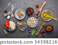 Ingredients for the healthy foods background. 34398216