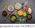 Ingredients for the healthy foods background . 34398223