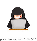hacker, laptop, vector 34398514
