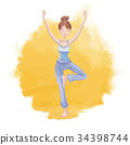 Young woman practicing yoga on a background of 34398744