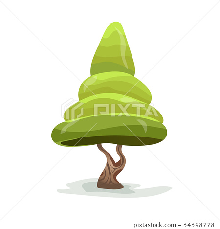 Green cartoon tree. Vector illustration, isolated 34398778