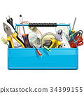 Vector Blue Toolbox with Electric Tools 34399155