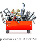 Vector Toolbox Trolley with Car Spares 34399159