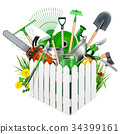 Vector White Wooden Fence with Garden Accessories 34399161