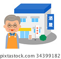 liquor store, shopkeeper, shop 34399182