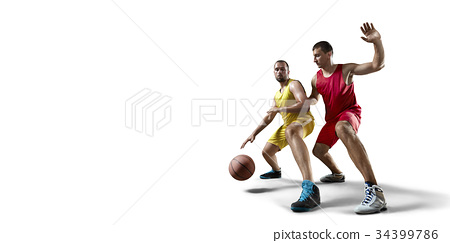 Basketball players on a white background 34399786